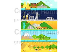 World continent tourism long banner