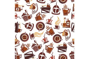 Brown coffee retro seamless pattern