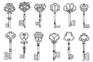 Vintage sketches of antique keys