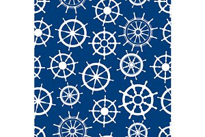 Nautical ship helms seamless pattern