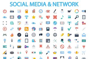 Social media and network icons set.