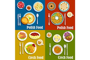 Dishes of polish and czech cuisine
