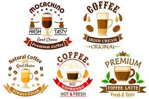 Premium natural coffee icons