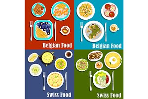 Swiss and belgian cuisine food