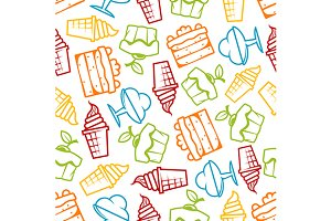 Cakes and ice cream seamless pattern