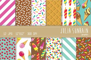 Ice Cream Digital Paper Set