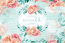 Emerald & Mint Watercolor Flowers