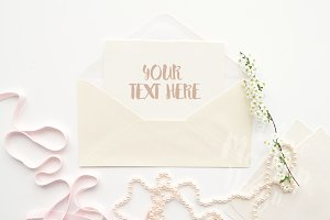 Envelope with Flowers/Product Mockup