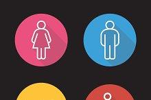 WC toilet door signs icons. Vector