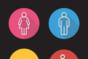 WC toilet door signs icons. Vector