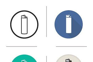 Cigarette lighter icons. Vector