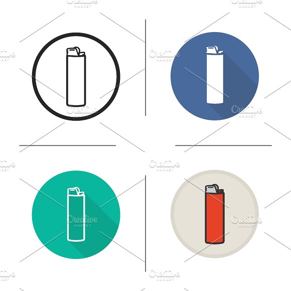 Cigarette lighter icons. Vector - Icons