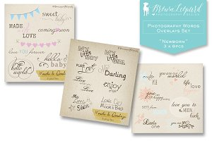 Photography Baby Words Overlays Set