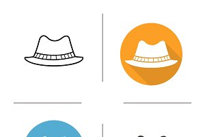 Men's hat icons. Vector