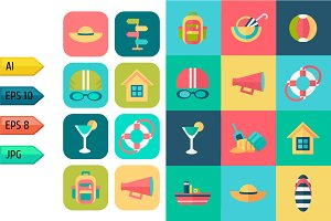 Set of summer travel icons.