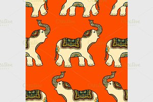 Pattern with Ethnic Elephant