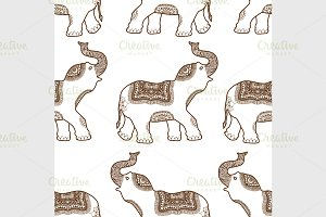 pattern with hand drawn elephants