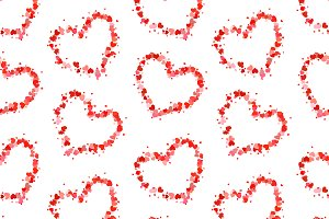 Hearts on white, seamless pattern