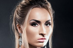 Beautiful woman with make up and hairstyle
