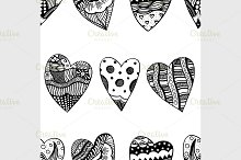background of hand drawn hearts.