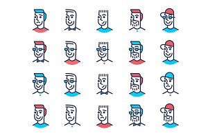 Line art man face icon set