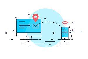 Mail sending internet concept
