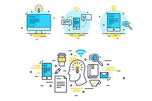 Computer, idea, mail sending concept