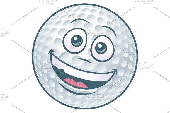 Cartoon Golf Ball Character in Illustrations