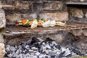 Shrimp skewers on barbecue