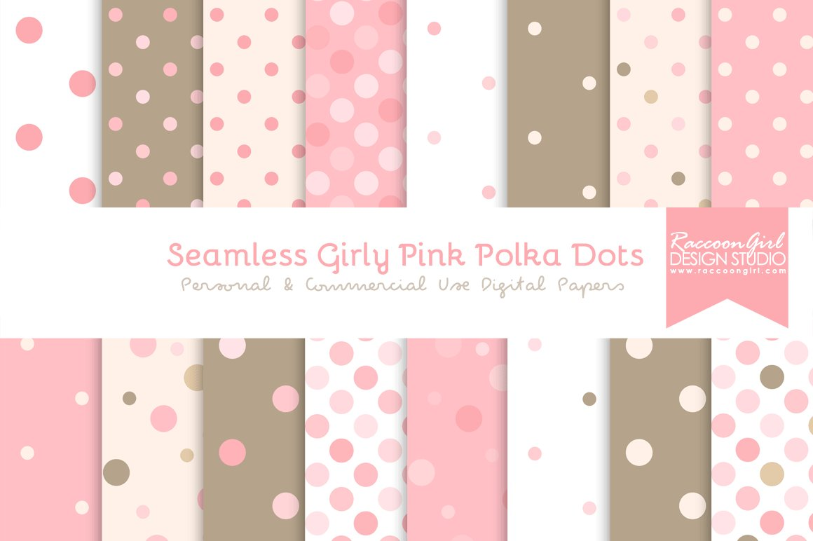 seamless girly pink polka dots graphic patterns creative market