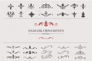 30+ Hand Drawn Damask Elements