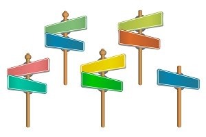 Set of colored street signs.