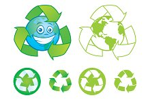 Recycle Symbols and Cartoon Earth