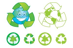 Recycle Symbols and Cartoon Earth
