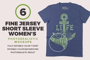 Fine Jersey Women's T-shirts Mockups