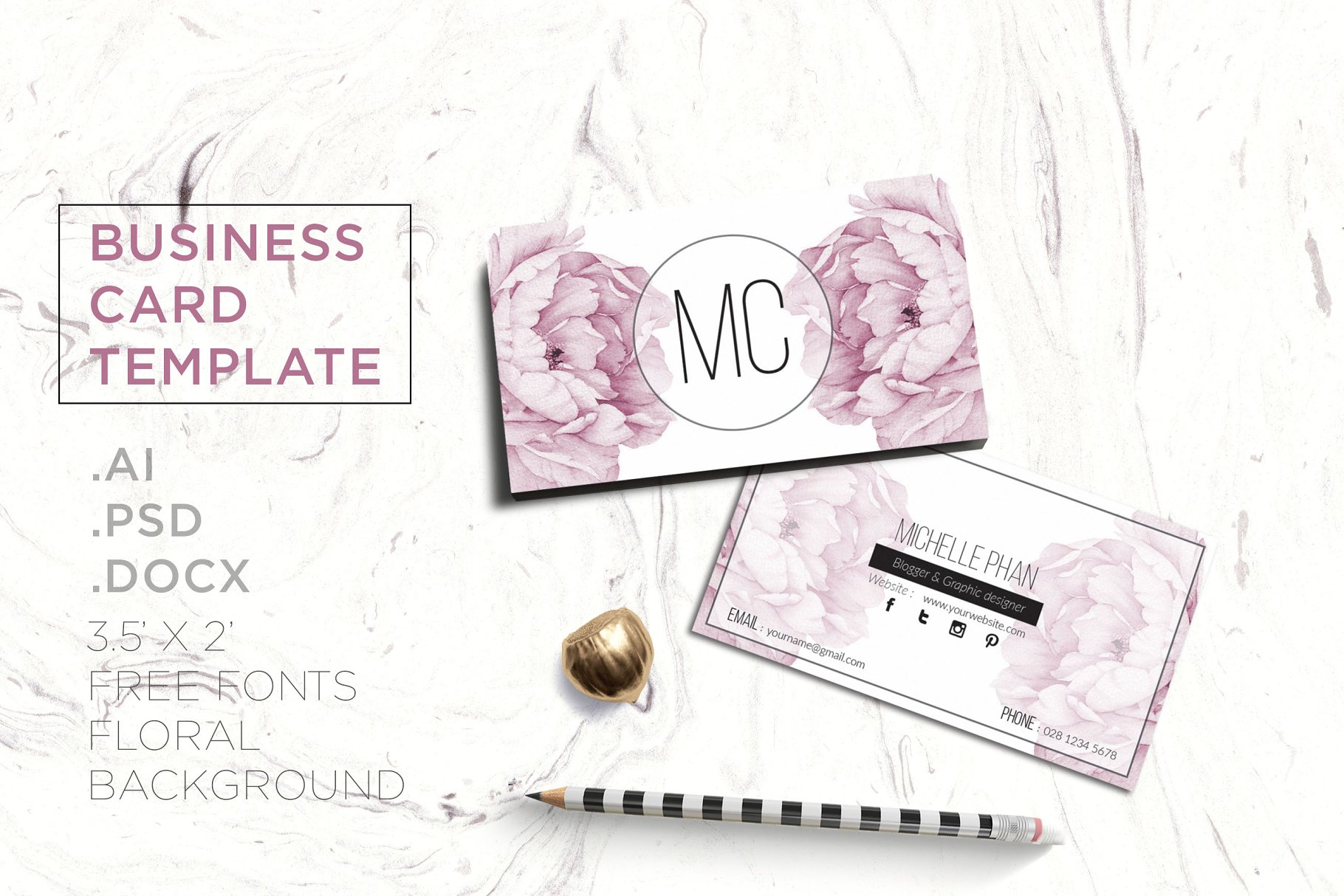 Floral business card template business card templates creative previous accmission Choice Image