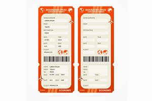Boarding Pass Ticket Set. Vector