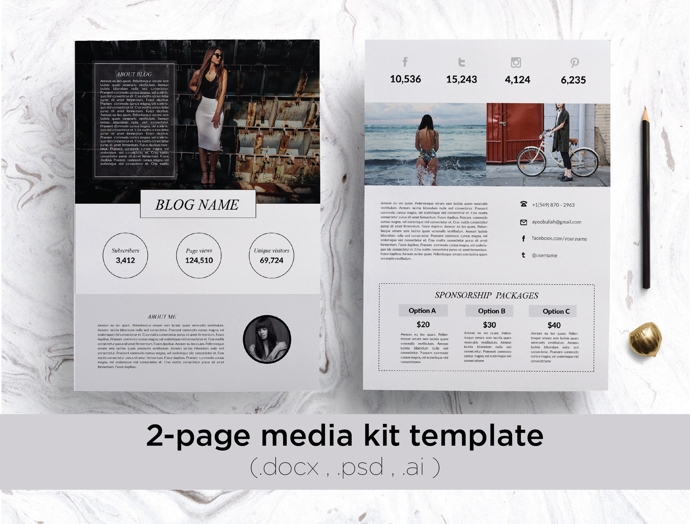 Page Media Kit Template Stationery Templates Creative Market - Magazine editorial calendar template