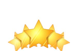 Five glossy golden rating stars