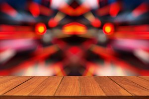 Wood table top on motion light