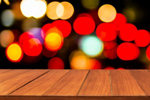 Wood table top on light boken