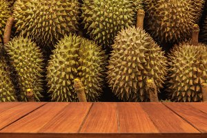 Wood table top on durian