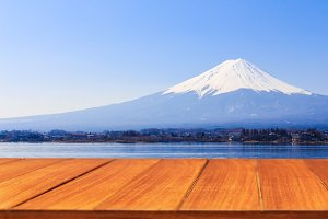 Wood table top on fuji mountain