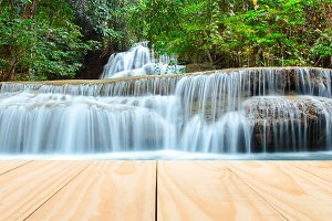 Wood table top on waterfall
