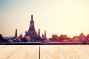 Wood table top on Wat Arun