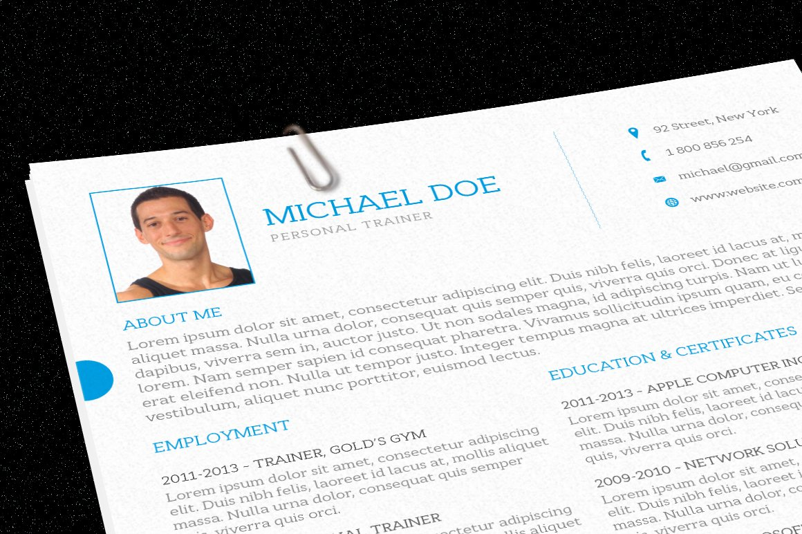 personal trainer resume resume templates creative market - Resume For A Personal Trainer