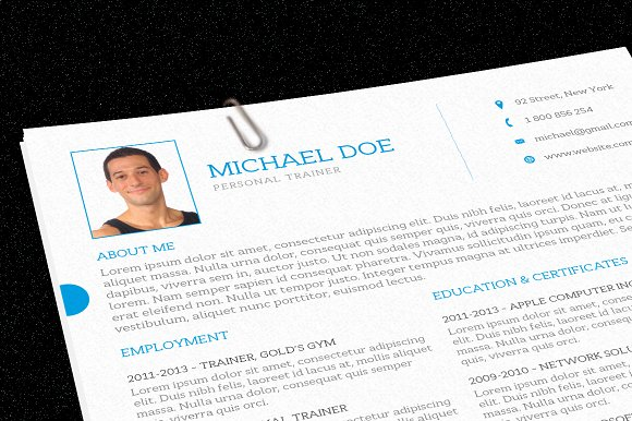 Personal Trainer Resume Resume Templates on Creative Market – Personal Trainer Resume