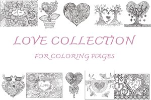 10 Love coloring book design