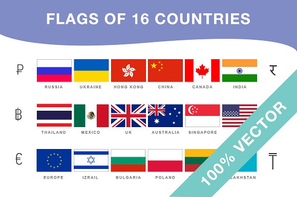 Flags And Currencies Of 16 Countries Objects