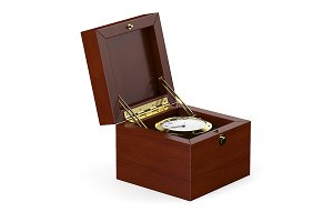 Golden Watch in Wooden Box